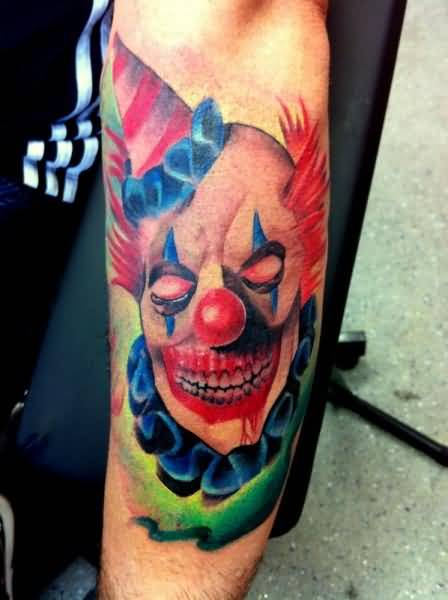Fantastic Scary Latino Clown Tattoo Made By Colorful Ink