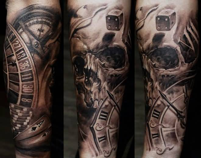 Clock tattoo ideas and clock tattoo designs page 6 for Skull tattoos for men sleeves