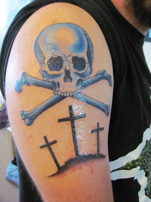 Fantastic Skull Bone And 3 Black Cross Tattoo Design Make On Upper Sleeve