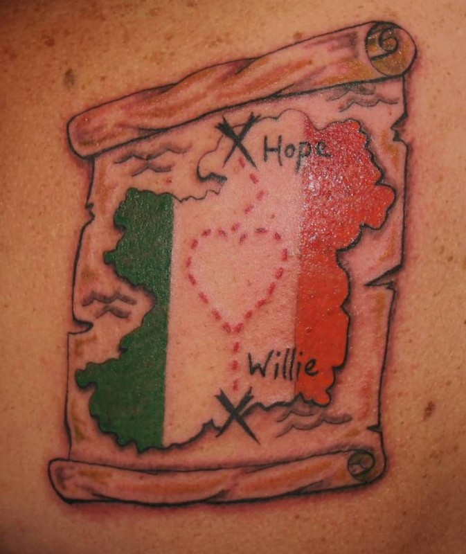 Fascinating Ireland Country Flag With Hope Willie Words Tattoo