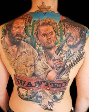 Full Back Cover Up With Outstanding Wanted Cowboy Soldier Tattoo