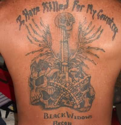 full back cover up with us army country skull tattoo design. Black Bedroom Furniture Sets. Home Design Ideas