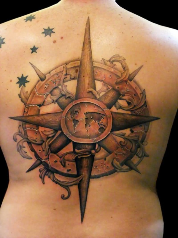 Full Back Decorated With Brilliant Compass And Black Stars Tattoo