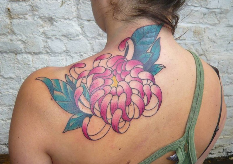 Great Looking Pink Chrysanthemum  Flower Tattoo On Women's Back Shoulder