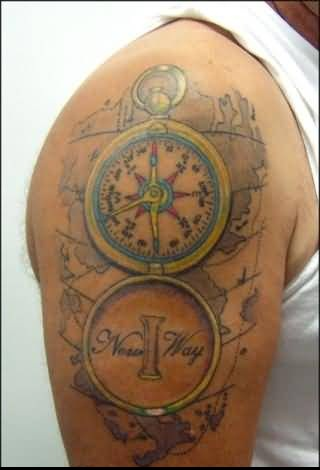handsome cool men show marvelous clock compass tattoo on upper sleeve. Black Bedroom Furniture Sets. Home Design Ideas