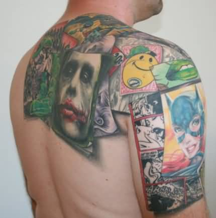 Handsome Men Show Cinema Cartoon Tattoo Design