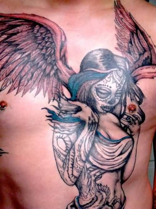 hot angel girl with wings tattoo design for chest. Black Bedroom Furniture Sets. Home Design Ideas