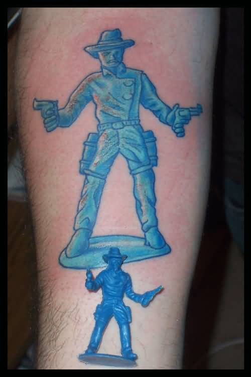 Incredible Blue Cowboy With Gun Tattoo Made By Blue Ink
