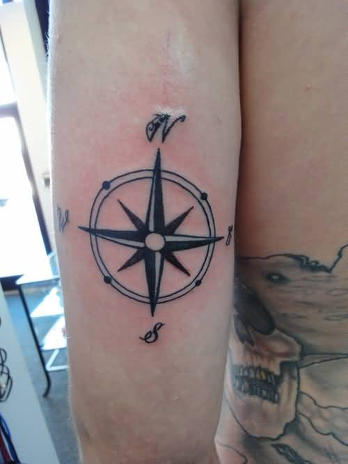 Latest Back Sleeve  Cover Up With Feminine Compass Tattoo Made By Black Ink