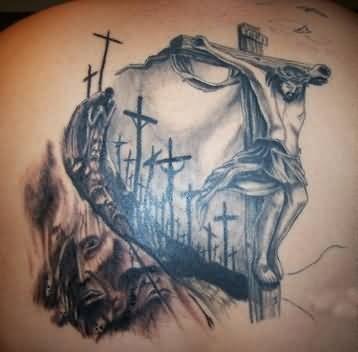 innovative jesus savior banner and cross tattoo on back shoulder. Black Bedroom Furniture Sets. Home Design Ideas