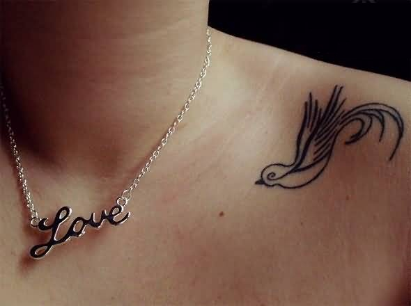 Latest Outline Bird Collarbone Tattoo  Design Made By Artist