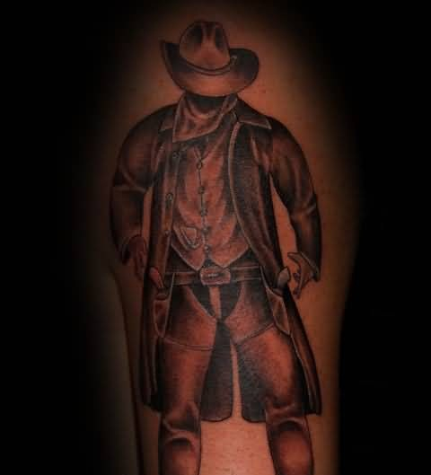 Latest Scary Cowboy Soldier Tattoo Design