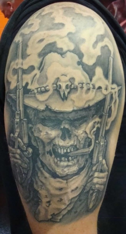 Latest Upper Sleeve Angry Cowboy Skull Tattoo For Men