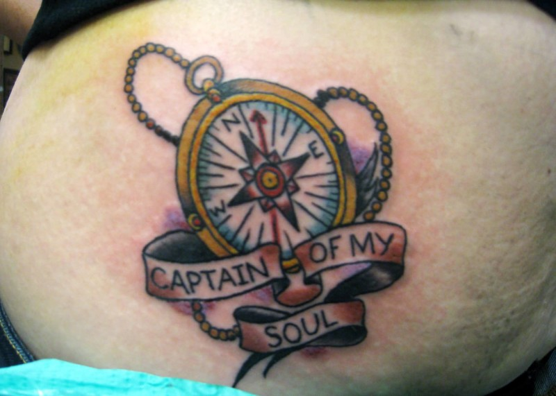 Lower Back Cover Up With Outstanding Captain Of My Soul Banner And Compass Tattoo