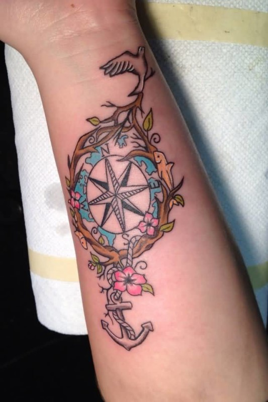 Women Upper Sleeve Cover Up With Anchor And Compass Tattoo