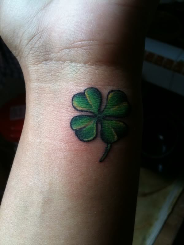 Lower Sleeve Decorated With Outstanding Clover Tattoo Design Made By Ink