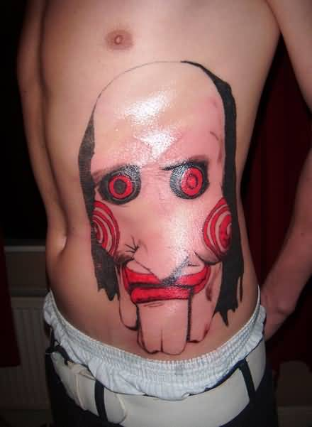 Marvelous Big Clown Face Tattoo On Rib Side For Handsome Men