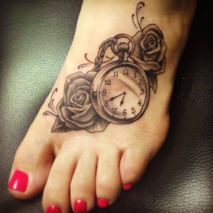 Marvelous Clock And Beautiful Roses Tattoo Design Make On Women's Foot