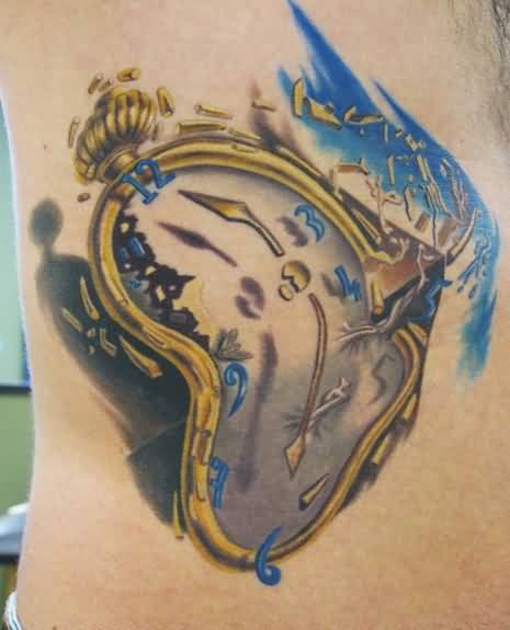 Marvelous Golden Dali Clock Tattoo Design For Men