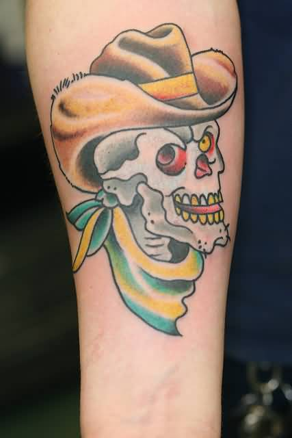 Marvelous Old Yellow Eye Cowboy Skull Tattoo On Forearm