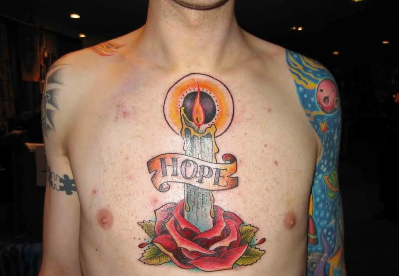 Men Chest Cover Up With Latest Hope Banner And Lovely Red Rose With Burning Candle Tattoo 7