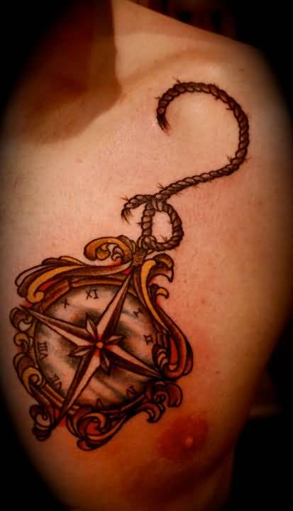 Men chest cover up with mind blowing compass and anchor for Chest cover up tattoos