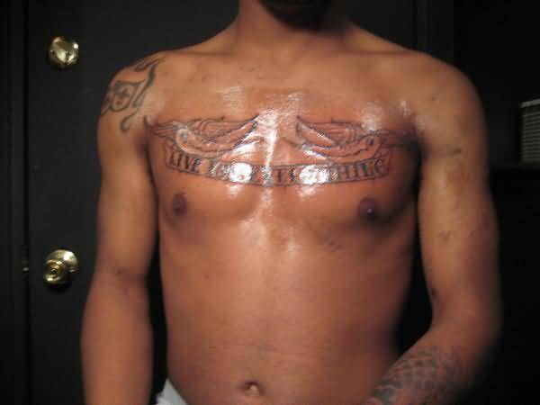 Men Chest Cover Up With Latest Writing Tattoo Design Made By Artist