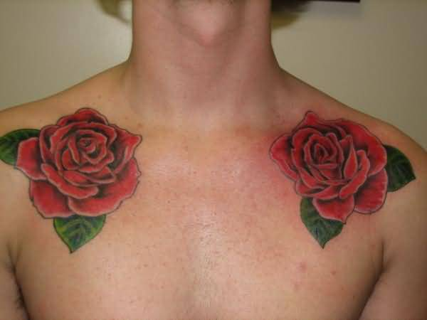 Men Collarbone Cover up With Brilliant Red Rose Flower Tattoo