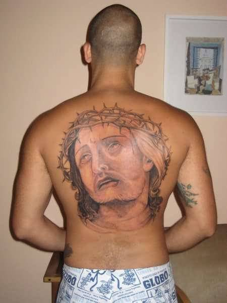 Men Full Back Decorated With Sad Christian Angel Tattoo