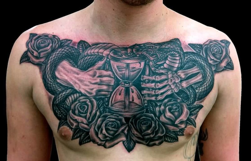 Men Full Chest Decorated With Mind Blowing Sand Clock Tattoo