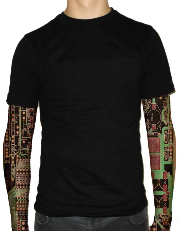 Men Full Sleeve Decorated With Brilliant Green Chip Tattoo