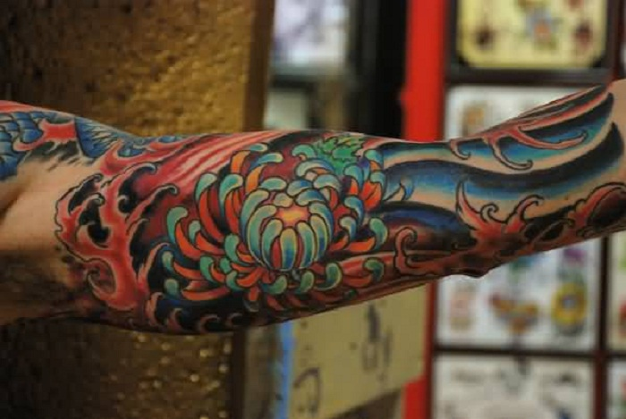 Men Full Sleeve Decorated With Mind Boggling Chrysanthemum Tattoo