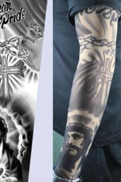 Men Sleeve Decorated Jesus Christian Tattoo Design