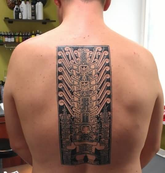 Men Upper Back Cover Up With Outstanding Big Chip Tattoo
