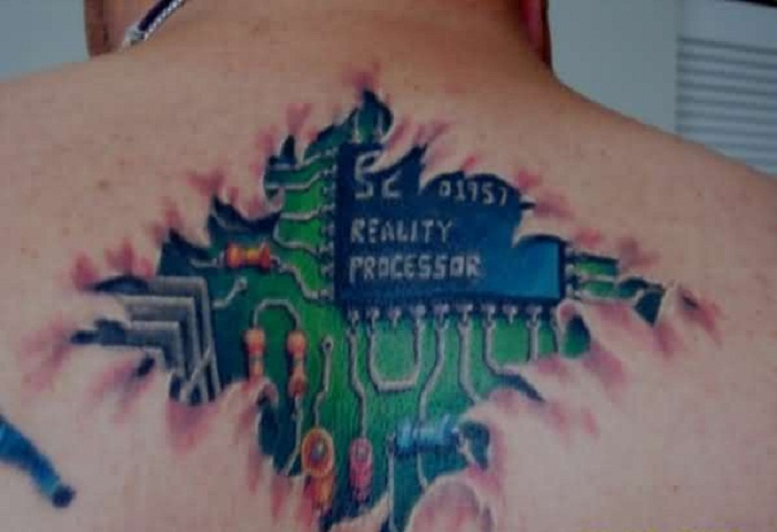 Men Upper Back Cover Up With Realistic Green Chip Tattoo