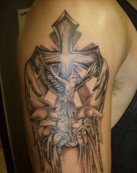 Men Upper Sleeve Cover Up With Outstanding Christian Cross Tattoo With Flying Sweet Bird