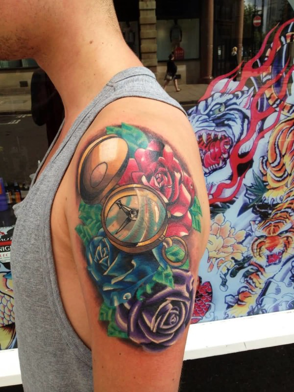 Men Upper Sleeve Cover Up With Realistic Compass And Brilliant Flowers Tattoo