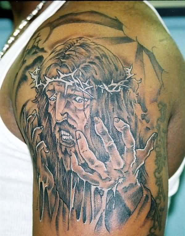 Men Upper Sleeve Cover Up With Wonderful Angry Jesus Christian Face Tattoo