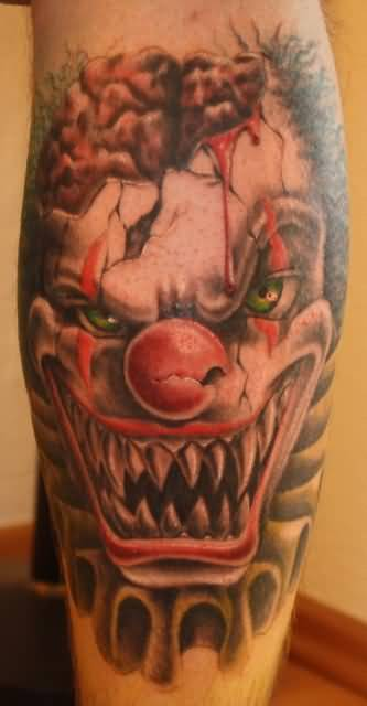Mind Blowing Angry Colorful Clown Face Tattoo Design