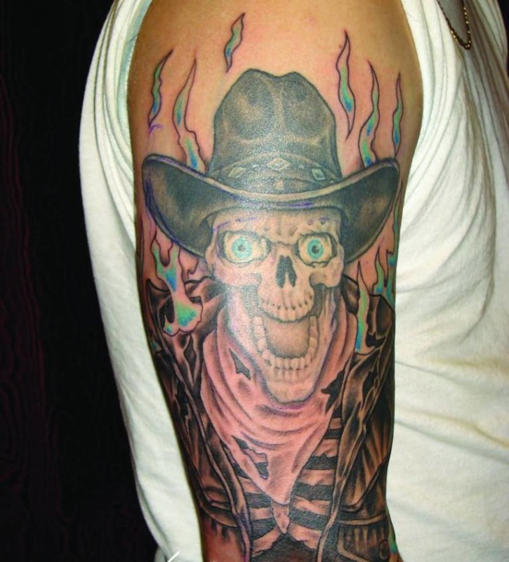 Mind Blowing Angry Cowboy Skull Tattoo On Upper Sleeve For Handsome Men