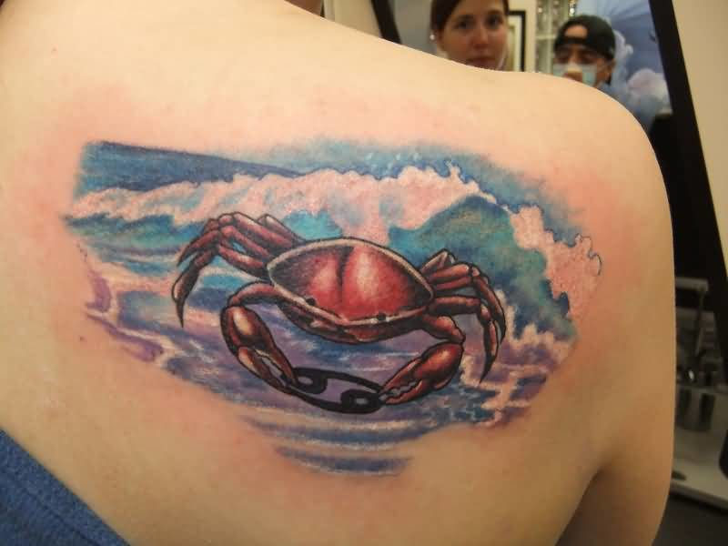 Mind Blowing Angry Crab In Water Tattoo Design For Side Back