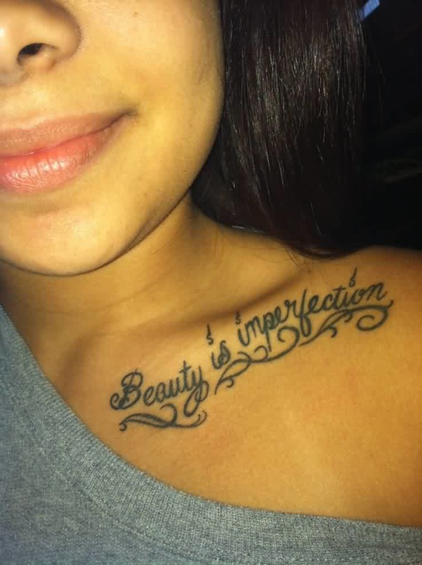 Mind Blowing Beauty Is Imperfection Words Tattoo Design Make On ...