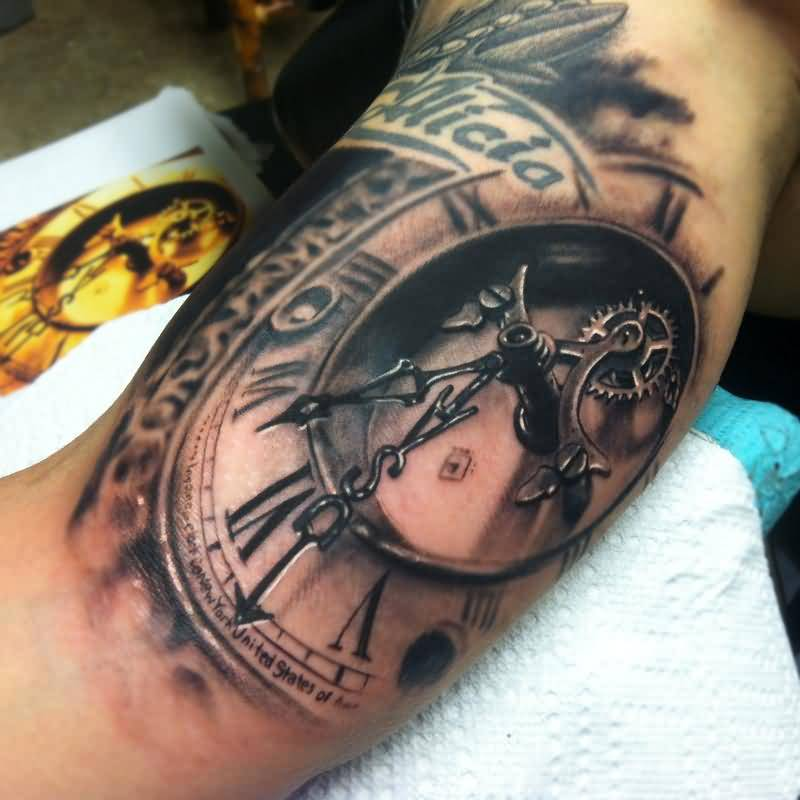 Mind Blowing Clock Tattoo Made By Ink