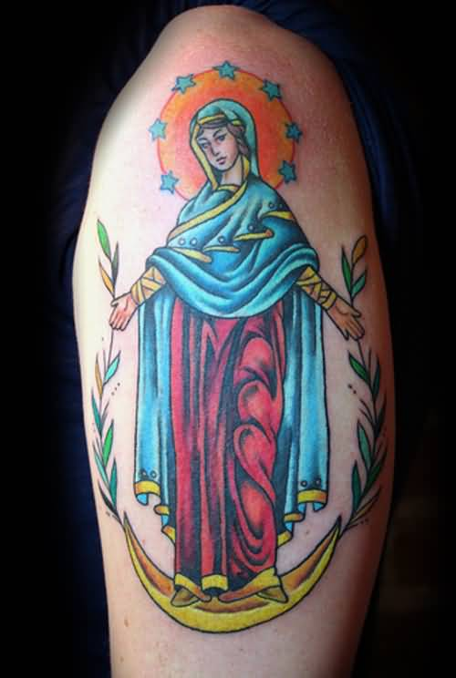 Mind Blowing Colorful Christian Angel With Lovely Stars Tattoo On Upper Sleeve