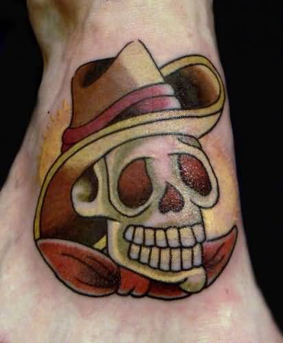 Mind Blowing Cowboy Skull Tattoo Design Make On Foot