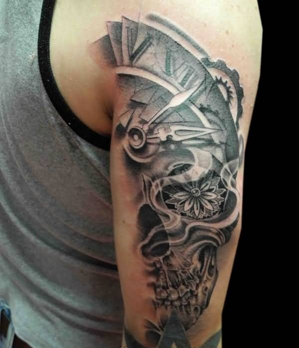 9559a64cd Mind Blowing Half Clock and Half Skull With Nice Star Tattoo On Back Sleeve