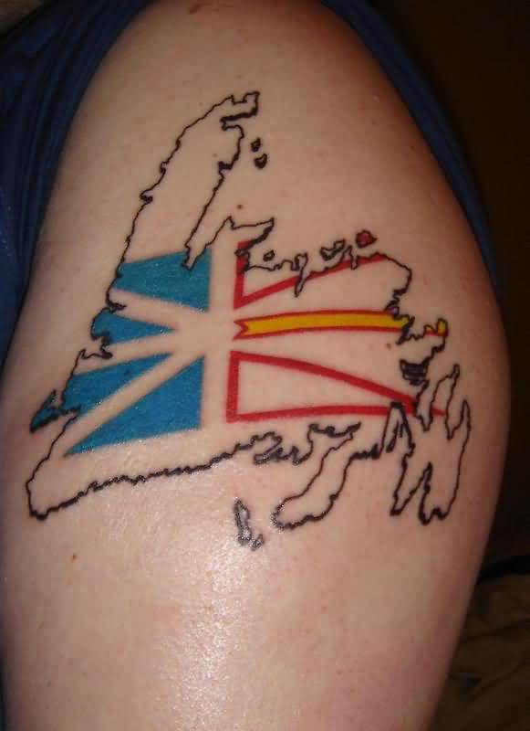 Mind Blowing Newfoundland Country Flag Tattoo Design Make On Upper Sleeve