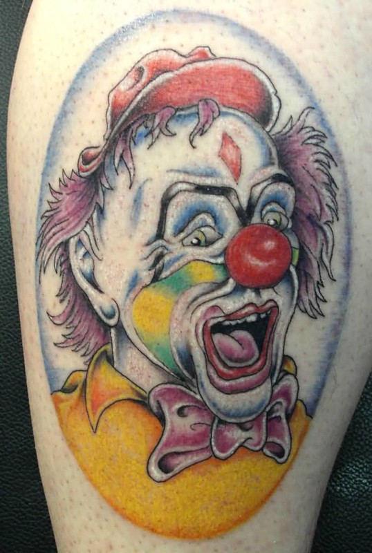 Mind Blowing Open Mouth Crazy Colorful Clown Tattoo Design Make On Leg