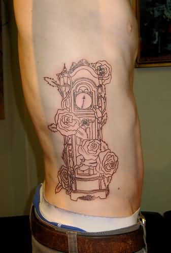 grandfather clock face tattoo. mind blowing simple outline grandfather clock and flower tattoo on menu0027s rib side face