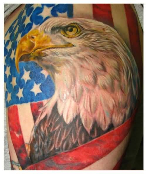 Mind Boggling Big Eagle And Famous US Country Flag Tattoo Design Make On Upper Sleeve